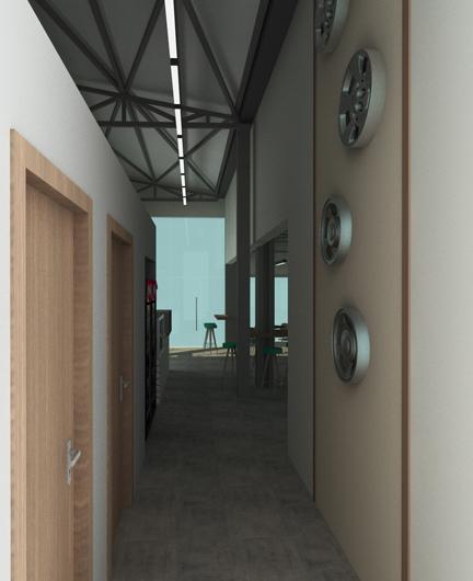 Άποψη του χώρου προς τις τουαλέτες του cafe σε πρατήριο υγρών καυσίμων στην Θεσσαλονίκη